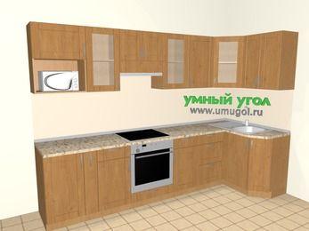Угловая кухня МДФ матовый 6,3 м², 3000 на 1200 мм, Ольха: верхние модули 720 мм, корзина-бутылочница, встроенный духовой шкаф, модуль под свч