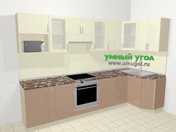 Угловая кухня МДФ глянец в современном стиле 6,3 м², 300 на 120 см, Жасмин / Капучино: верхние модули 72 см, корзина-бутылочница, встроенный духовой шкаф, модуль под свч