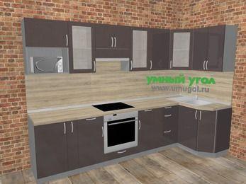 Угловая кухня МДФ глянец в стиле лофт 6,3 м², 300 на 120 см, Шоколад: верхние модули 72 см, корзина-бутылочница, встроенный духовой шкаф, модуль под свч
