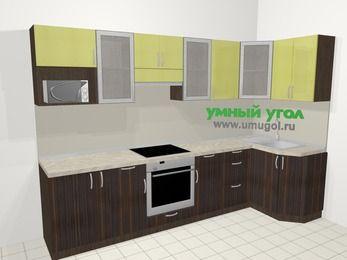 Кухни пластиковые угловые в современном стиле 6,3 м², 300 на 120 см, Желтый Галлион глянец / Дерево Мокка: верхние модули 72 см, корзина-бутылочница, встроенный духовой шкаф, модуль под свч