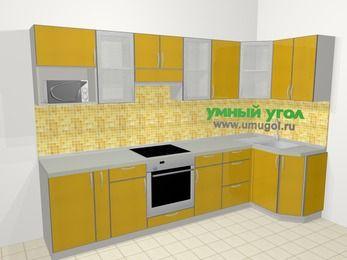 Кухни пластиковые угловые в современном стиле 6,3 м², 300 на 120 см, Желтый глянец: верхние модули 72 см, корзина-бутылочница, встроенный духовой шкаф, модуль под свч