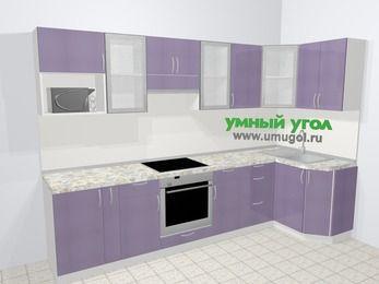 Кухни пластиковые угловые в современном стиле 6,3 м², 300 на 120 см, Сиреневый глянец: верхние модули 72 см, корзина-бутылочница, встроенный духовой шкаф, модуль под свч