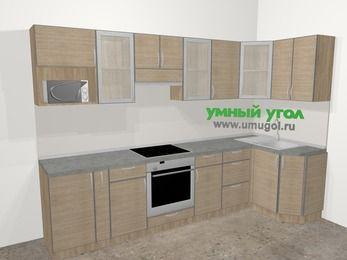 Кухни пластиковые угловые в стиле лофт 6,3 м², 300 на 120 см, Чибли бежевый: верхние модули 72 см, корзина-бутылочница, встроенный духовой шкаф, модуль под свч