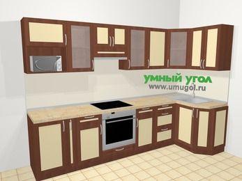Угловая кухня из рамочного МДФ 6,3 м², 300 на 120 см, Вишня темная / Крем: верхние модули 72 см, корзина-бутылочница, встроенный духовой шкаф, модуль под свч