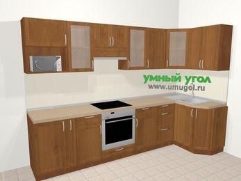 Угловая кухня из рамочного МДФ 6,3 м², 300 на 120 см, Орех: верхние модули 72 см, корзина-бутылочница, встроенный духовой шкаф, модуль под свч