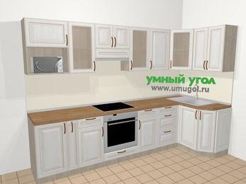 Угловая кухня МДФ патина в классическом стиле 6,3 м², 300 на 120 см, Лиственница белая: верхние модули 72 см, корзина-бутылочница, встроенный духовой шкаф, модуль под свч