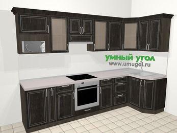 Угловая кухня МДФ патина в классическом стиле 6,3 м², 300 на 120 см, Венге: верхние модули 72 см, корзина-бутылочница, встроенный духовой шкаф, модуль под свч