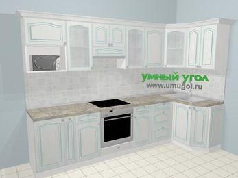 Угловая кухня МДФ патина в стиле прованс 6,3 м², 300 на 120 см, Лиственница белая: верхние модули 72 см, корзина-бутылочница, встроенный духовой шкаф, модуль под свч