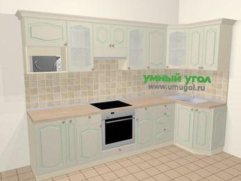 Угловая кухня МДФ патина в стиле прованс 6,3 м², 300 на 120 см, Керамик: верхние модули 72 см, корзина-бутылочница, встроенный духовой шкаф, модуль под свч