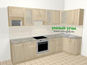 Угловая кухня из массива дерева в классическом стиле 6,3 м², 300 на 120 см, Светло-коричневые оттенки: верхние модули 72 см, корзина-бутылочница, встроенный духовой шкаф, модуль под свч