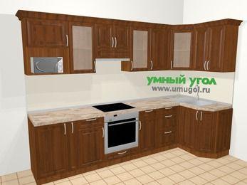 Угловая кухня из массива дерева в классическом стиле 6,3 м², 300 на 120 см, Темно-коричневые оттенки: верхние модули 72 см, корзина-бутылочница, встроенный духовой шкаф, модуль под свч