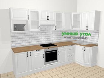 Угловая кухня из массива дерева в скандинавском стиле 6,3 м², 300 на 120 см, Белые оттенки: верхние модули 72 см, корзина-бутылочница, встроенный духовой шкаф, модуль под свч