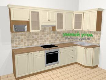 Угловая кухня из массива дерева в стиле кантри 6,3 м², 300 на 120 см, Бежевые оттенки: верхние модули 72 см, корзина-бутылочница, встроенный духовой шкаф, модуль под свч