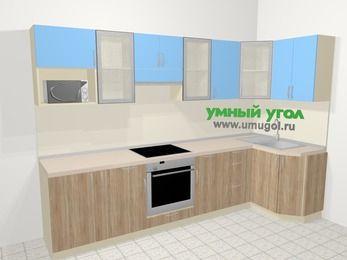 Угловая кухня из ЛДСП EGGER 6,3 м², 300 на 120 см, Голубой / Дуб: верхние модули 72 см, корзина-бутылочница, встроенный духовой шкаф, модуль под свч