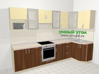 Угловая кухня из ЛДСП EGGER 6,3 м², 300 на 120 см, Ваниль / Орех: верхние модули 72 см, корзина-бутылочница, встроенный духовой шкаф, модуль под свч