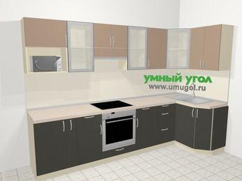 Угловая кухня из ЛДСП EGGER 6,3 м², 300 на 120 см, Бежевый / Трюфель: верхние модули 72 см, корзина-бутылочница, встроенный духовой шкаф, модуль под свч