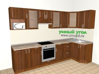 Угловая кухня из массива дерева 6,3 м², 3000 на 1200 мм, Темно-коричневые оттенки: верхние модули 720 мм, корзина-бутылочница, встроенный духовой шкаф, модуль под свч