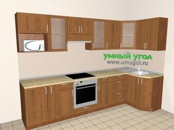 Угловая кухня из рамочного МДФ 6,3 м², 3000 на 1200 мм, Орех: верхние модули 720 мм, корзина-бутылочница, встроенный духовой шкаф, модуль под свч