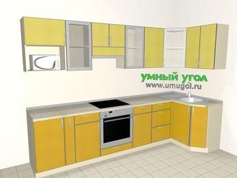 Кухни пластиковые угловые 6,3 м², 3000 на 1200 мм, Желтый Альтамир глянец / Желтый глянец: верхние модули 720 мм, корзина-бутылочница, встроенный духовой шкаф, модуль под свч