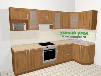 Угловая кухня МДФ патина в классическом стиле 6,3 м², 300 на 120 см, Ольха: верхние модули 72 см, корзина-бутылочница, встроенный духовой шкаф, модуль под свч