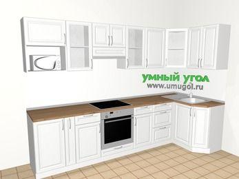 Угловая кухня из массива дерева 6,3 м², 3000 на 1200 мм, Белые оттенки: верхние модули 720 мм, корзина-бутылочница, встроенный духовой шкаф, модуль под свч