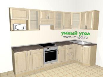 Угловая кухня из массива дерева 6,3 м², 3000 на 1200 мм, Светло-коричневые оттенки: верхние модули 720 мм, корзина-бутылочница, встроенный духовой шкаф, модуль под свч