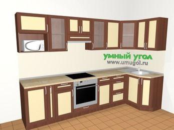 Угловая кухня из рамочного МДФ 6,3 м², 3000 на 1200 мм, Вишня темная / Крем: верхние модули 720 мм, корзина-бутылочница, встроенный духовой шкаф, модуль под свч