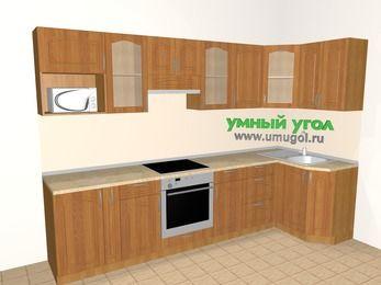 Угловая кухня МДФ матовый 6,3 м², 3000 на 1200 мм, Вишня: верхние модули 720 мм, корзина-бутылочница, встроенный духовой шкаф, модуль под свч