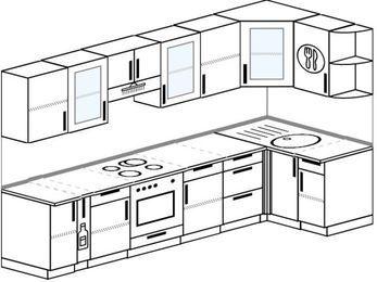 Угловая кухня 6,3 м² (3,0✕1,2 м), верхние модули 72 см, встроенный духовой шкаф