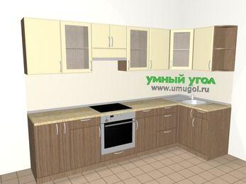 Угловая кухня МДФ матовый 6,3 м², 3000 на 1200 мм, Ваниль / Лиственница бронзовая, верхние модули 720 мм, встроенный духовой шкаф