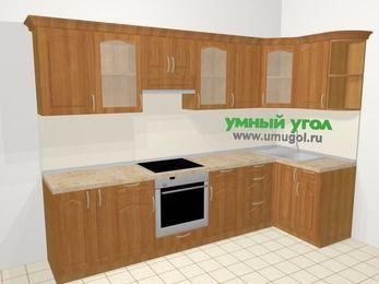 Угловая кухня МДФ матовый в классическом стиле 6,3 м², 300 на 120 см, Вишня, верхние модули 72 см, встроенный духовой шкаф