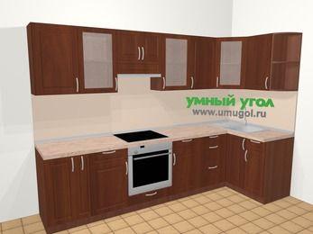 Угловая кухня МДФ матовый в классическом стиле 6,3 м², 300 на 120 см, Вишня темная, верхние модули 72 см, встроенный духовой шкаф