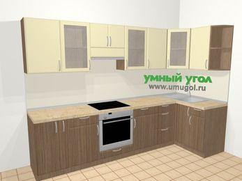 Угловая кухня МДФ матовый в современном стиле 6,3 м², 300 на 120 см, Ваниль / Лиственница бронзовая, верхние модули 72 см, встроенный духовой шкаф