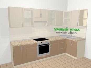 Угловая кухня МДФ матовый в современном стиле 6,3 м², 300 на 120 см, Керамик / Кофе, верхние модули 72 см, встроенный духовой шкаф
