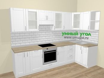 Угловая кухня МДФ матовый  в скандинавском стиле 6,3 м², 300 на 120 см, Белый, верхние модули 72 см, встроенный духовой шкаф