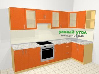 Угловая кухня МДФ металлик в современном стиле 6,3 м², 300 на 120 см, Оранжевый металлик, верхние модули 72 см, встроенный духовой шкаф
