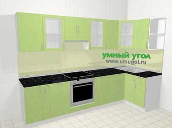 Угловая кухня МДФ металлик в современном стиле 6,3 м², 300 на 120 см, Салатовый металлик, верхние модули 72 см, встроенный духовой шкаф