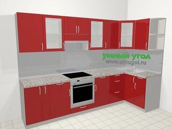 Угловая кухня МДФ глянец в современном стиле 6,3 м², 300 на 120 см, Красный, верхние модули 72 см, встроенный духовой шкаф