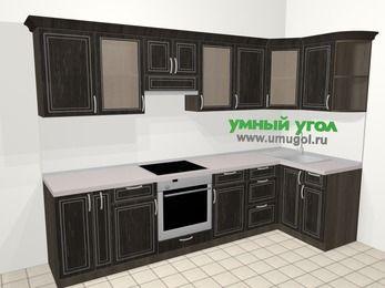 Угловая кухня МДФ патина в классическом стиле 6,3 м², 300 на 120 см, Венге, верхние модули 72 см, встроенный духовой шкаф