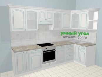 Угловая кухня МДФ патина в стиле прованс 6,3 м², 300 на 120 см, Лиственница белая, верхние модули 72 см, встроенный духовой шкаф