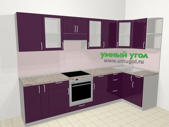 Угловая кухня МДФ глянец в современном стиле 6,3 м², 300 на 120 см, Баклажан, верхние модули 72 см, встроенный духовой шкаф