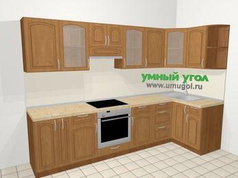 Угловая кухня МДФ патина в классическом стиле 6,3 м², 300 на 120 см, Ольха, верхние модули 72 см, встроенный духовой шкаф