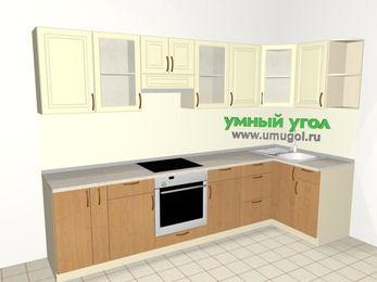 Угловая кухня из МДФ + ЛДСП 6,3 м², 3000 на 1200 мм, Ваниль / Ольха, верхние модули 720 мм, встроенный духовой шкаф