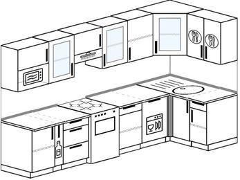 Угловая кухня 6,3 м² (3,0✕1,2 м), верхние модули 72 см, посудомоечная машина, модуль под свч, отдельно стоящая плита