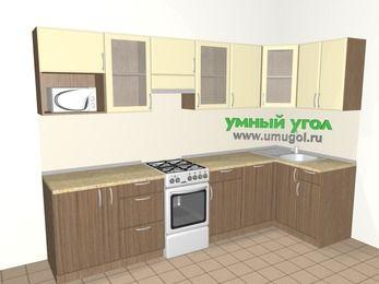Угловая кухня МДФ матовый 6,3 м², 3000 на 1200 мм, Ваниль / Лиственница бронзовая, верхние модули 720 мм, посудомоечная машина, модуль под свч, отдельно стоящая плита