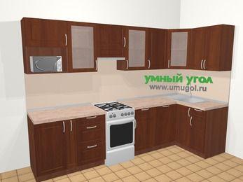 Угловая кухня МДФ матовый в классическом стиле 6,3 м², 300 на 120 см, Вишня темная, верхние модули 72 см, посудомоечная машина, модуль под свч, отдельно стоящая плита