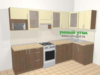 Угловая кухня МДФ матовый в современном стиле 6,3 м², 300 на 120 см, Ваниль / Лиственница бронзовая, верхние модули 72 см, посудомоечная машина, модуль под свч, отдельно стоящая плита