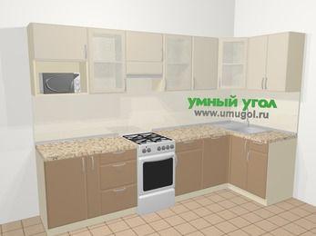 Угловая кухня МДФ матовый в современном стиле 6,3 м², 300 на 120 см, Керамик / Кофе, верхние модули 72 см, посудомоечная машина, модуль под свч, отдельно стоящая плита
