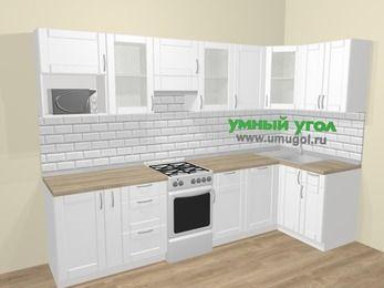 Угловая кухня МДФ матовый  в скандинавском стиле 6,3 м², 300 на 120 см, Белый, верхние модули 72 см, посудомоечная машина, модуль под свч, отдельно стоящая плита