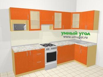 Угловая кухня МДФ металлик в современном стиле 6,3 м², 300 на 120 см, Оранжевый металлик, верхние модули 72 см, посудомоечная машина, модуль под свч, отдельно стоящая плита